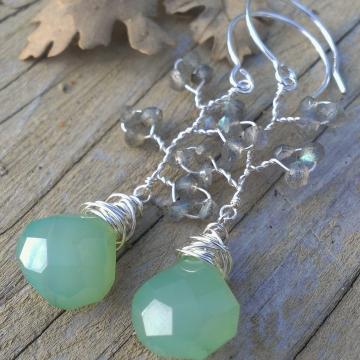 Vine Collection - Labradorite & Green Chalcedony Earrings