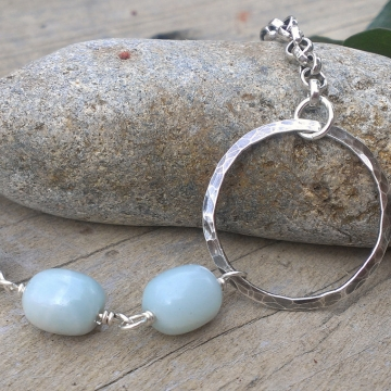 Amazonite Link on Heavy Chain with Hammered Circle