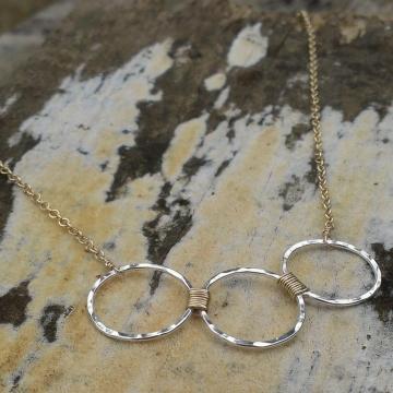 Loop-de-Loop Wrapped Trio Hammered Sterling Necklace
