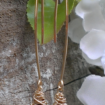 """Wonky Wrapped Earrings in 14K Gold Filled - Gorgeous Grade A Garnet Briolettes on Long, Handforged """"V"""" Hook Earwires"""