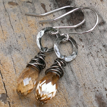 """Wonky Wrapped Briolette on Hammered Oval Hoop Earring - Gifted to the """"Once Upon A Time"""" Stylist for Consideration"""