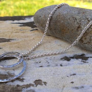 Loop-de-Loop Hammered Sterling Free Floating Duo Necklace