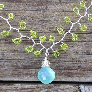 Vine Collection - Chalcedony & Vesuvianite Necklace