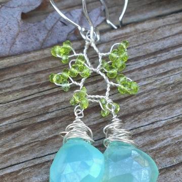 Vine Collection - Chalcedony & Vesuvenite Earrings