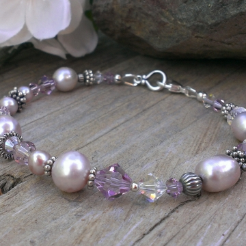 Shades of Lilac - Single Strand Bracelet in Pearls, Crystals & Sterling