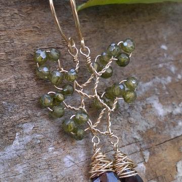 Vine Collection - Cubic Zirconia & Garnet Earrings in 14K Gold Fill