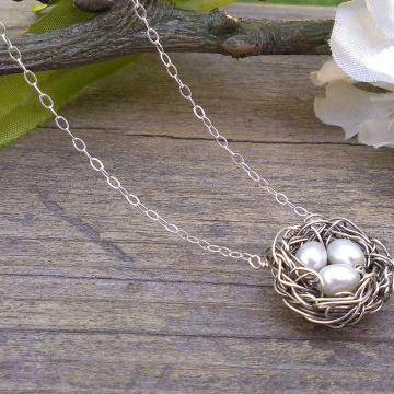 Nest Necklace - Single Nest, Trio in White, Pink or Peacock
