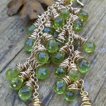 Peridot Cascade Earrings in 14K Gold Filled - OOAK