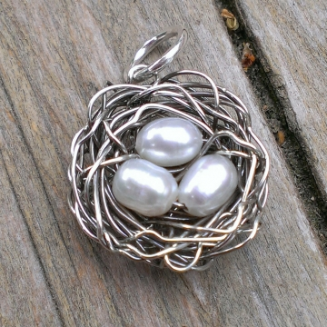 Nest Pendant - Single Nest, Trio in White, Pink or Peacock (Pendant Only)