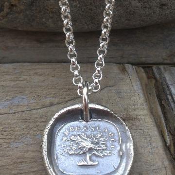 "Antique French Insignia / Fine Silver Pendant - ""Inebranlable"""