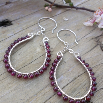 Gorgeous Garnets Wrapped in Sterling on Oval Frame