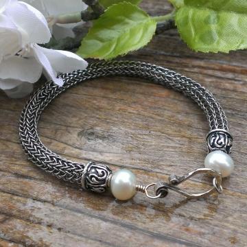 Viking Knit Bracelet  - Pearl Accents on Endcap