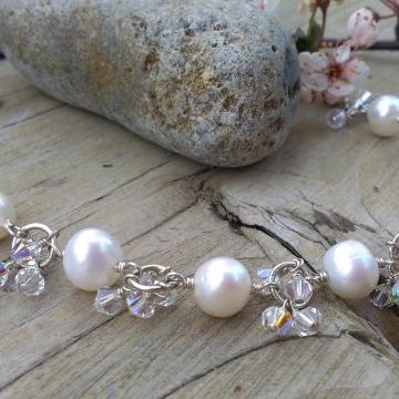 Bliss Bridal - White Pearl & Swarovski Charm Bracelet