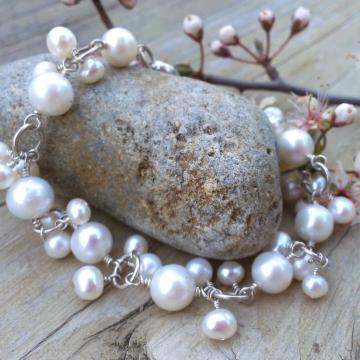 Bliss Bridal - White Pearl Charm Bracelet