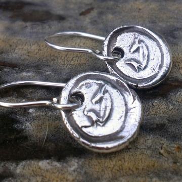 Antique Insignia / Fine Silver Earrings - Birds & Birdbath