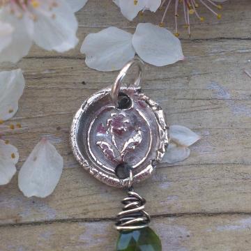 Antique Insignia / Fine Silver Pendant - Posey & Chrome Diopside Charm
