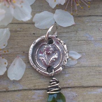 Antique Insignia / Fine Silver Pendant - Posey & Chrome Diopside Charm