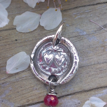 """Antique Insignia / Fine Silver Pendant - """"Forever"""" & Ruby Charm (Two Hearts Intertwined above)"""