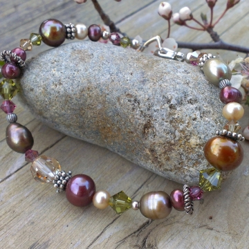Autumn Shades - Single Strand Bracelet in Pearls, Crystals & Sterling