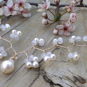 Vine Collection - Moonstone & Pearl Necklace on 14K Gold Fill