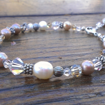Shades of Champagne - Single Strand Bracelet in Pearls, Crystals & Sterling