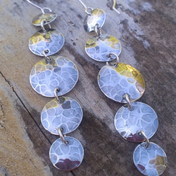 Five Drop Hammered Earrings on Handforged Earwires