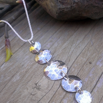Five Drop Hammered Necklace on Wheat Chain