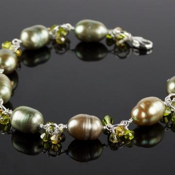 Charmed Life - Green Pearl Charm Bracelet