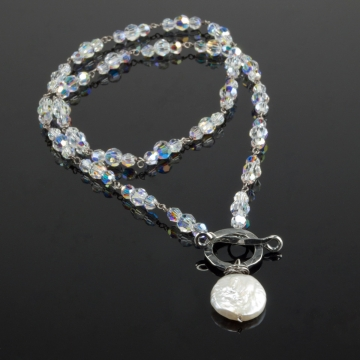 Swarovski Link Necklace with Coin Pearl Pendant