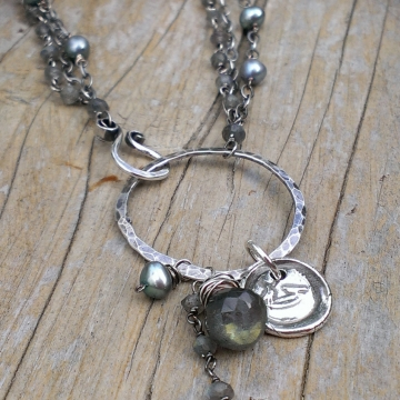 Multi-Strand Link Necklace with Gemstone, Pearl & Insignia Charms