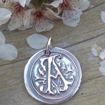 Alphabet Insignia / Fine Silver Pendant - Capital Letters A thru Z