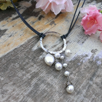 Emmy Charm Necklace with Gemstone & Pearl Charms on Leather
