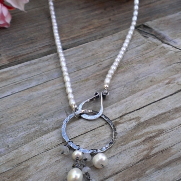 Emmy Pearl Necklace with Gemstone & Pearl Charms