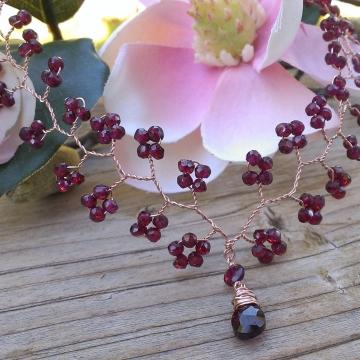 Vine Collection -  Garnet Necklace in 14K Rose Gold Fill
