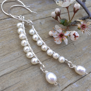 Curved Bar Earrings with Freshwater Pearl & Sterling Wrap + Pearl Charm Dangle