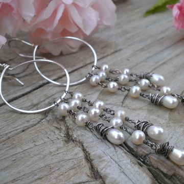 Hoop Earring with Freshwater Pearl Cascade - Choice of White, Pewter (Grey) or Pink