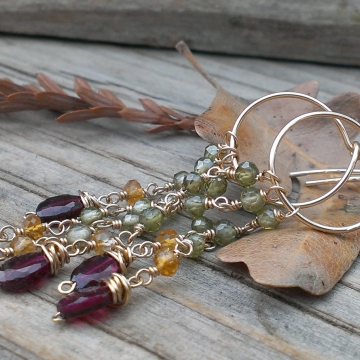 As Seen On TV: Hart of Dixie / 14 K Gold Filled Hoop Earring with Gemstone Cascade / Garnet, Citrine & Olive CZ