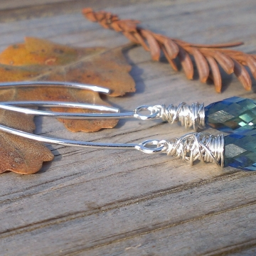 """Wonky Wrapped Earrings in Sterling Silver - Gorgeous Swarovski Briolettes on Long, Handforged """"V"""" Hook Earwires"""
