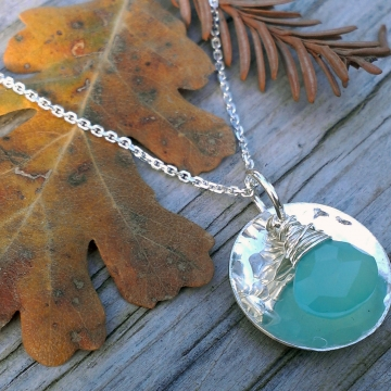 Hammered Disk & Green Chalcedony Drop Necklace - on Chain