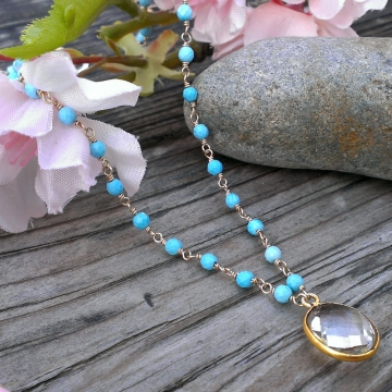 Sleeping Beauty Turquoise Linked Gemstone Necklace with Vermeil Quartz Pendant & Handforged Clasp - 14K Gold Filled