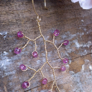Vine Collection Fan-Style Earrings - Faceted Pink Tourmaline Gemstones in 14K Gold Fill