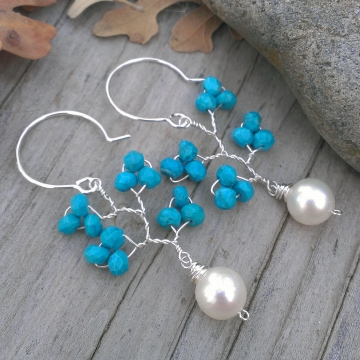 Vine Collection - Faceted Turquoise Rondelles with Grade AAA White Freshwater Pearl Charm / Earrings