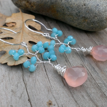 Vine Collection - Faceted Blue Chalcedony Rondelles with Pink Mystic Chalcedony Briolettes / Earrings