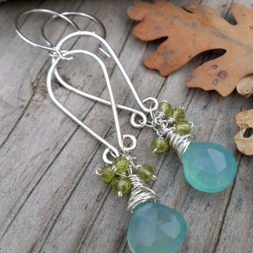 Teardrop Sterling Frame Earrings with Chalcedony Briolette & Faceted Peridot Clusters
