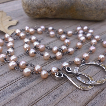 """Chain of Pearls Necklace - Peach Freshwater Pearls linked with Sterling Silver, Medium Strand (20"""")"""