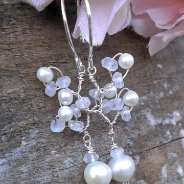 Vine Collection - Pearl & Moonstone Earrings in Sterling Silver