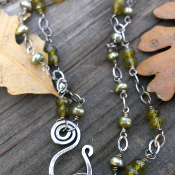 Green Gemstone Bracelet - Double Strand Vesuvianite & Freshwater Pearl Linked With Oxidized Sterling Silver