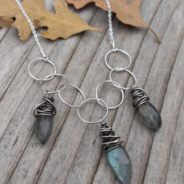 Labradorite Marquise Briolette Charms on Sterling Links, Hanforged, with Dainty Chain
