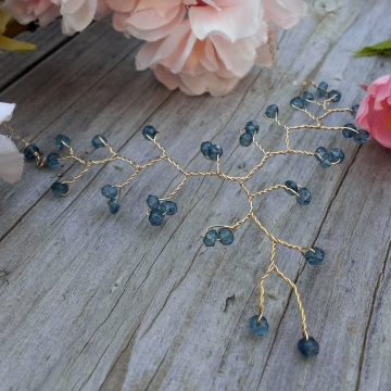 Vine Collection Petite Necklace - Faceted London Blue Topaz Gemstones in 14K Gold Fill, Adjustable Length