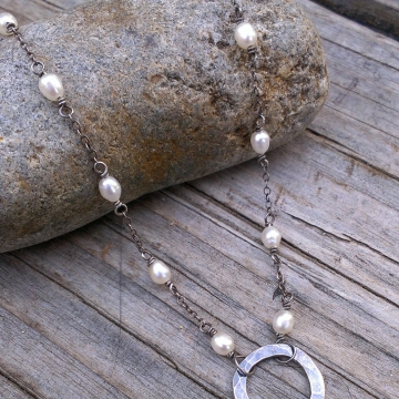 Pearl Station Necklace with Hammered Circle Focal Link, handforged sterling, adjustable